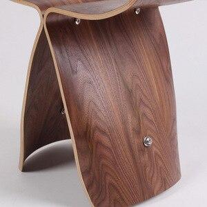 Image 5 - Nasida taburete otomano de madera para el hogar, banqueta de mariposa estilo Yanagi Sori, multicolor, originalidad, norte de Europa