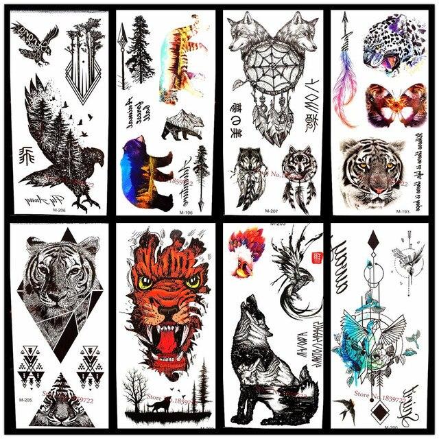 25 Estilo Elegir 3d Grande Negro águila Tatuaje Pegatinas Para