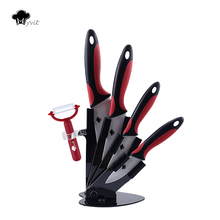 Kitchen Knives Ceramic Knives with Holder 3″ 4″ 5″ 6″Knives+Peeler Kitchen Cooking Knife White Blade Ceramic Top Quality