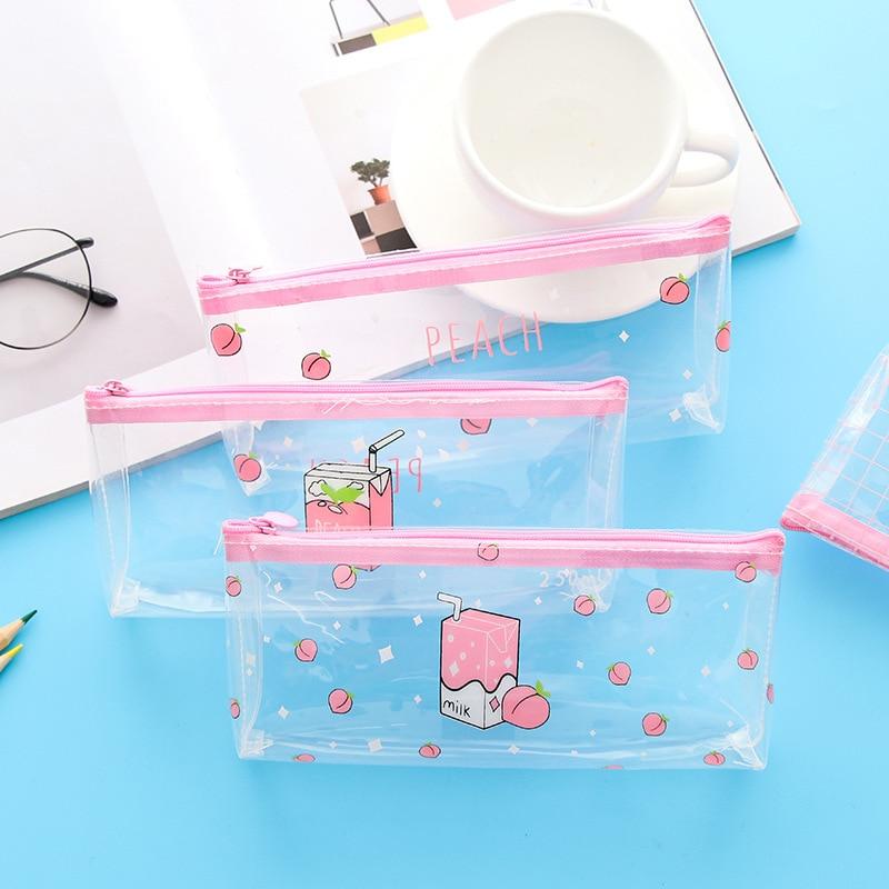 Cute Peach Milk Pencil Case Kawaii Transparent Pencilcase Simple Pencil Bag Girls Pencil Box Student School Stationery Supplies