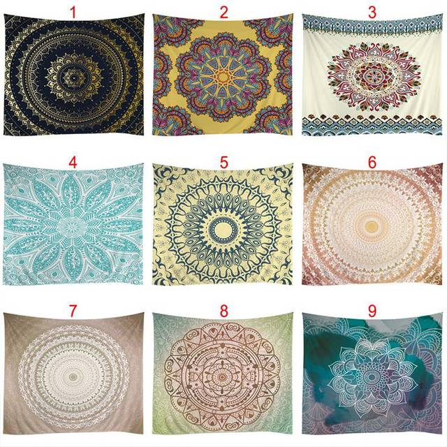 528305a2a5a2 US $9.8  Psychedelic Tapestry Hippie Indian Mandala Wall Hanging Tapestry  Polyester Fabric Printed Wall Decor Beach Towel Bedspread-in Tapestry from  ...
