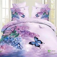 3D Hoa và Bướm Bedding Set Nữ Hoàng King Kích Thước Ánh Sáng tím Floral Print Duvet Cover Sheets Pillowcase Cotton parure de thắp sáng
