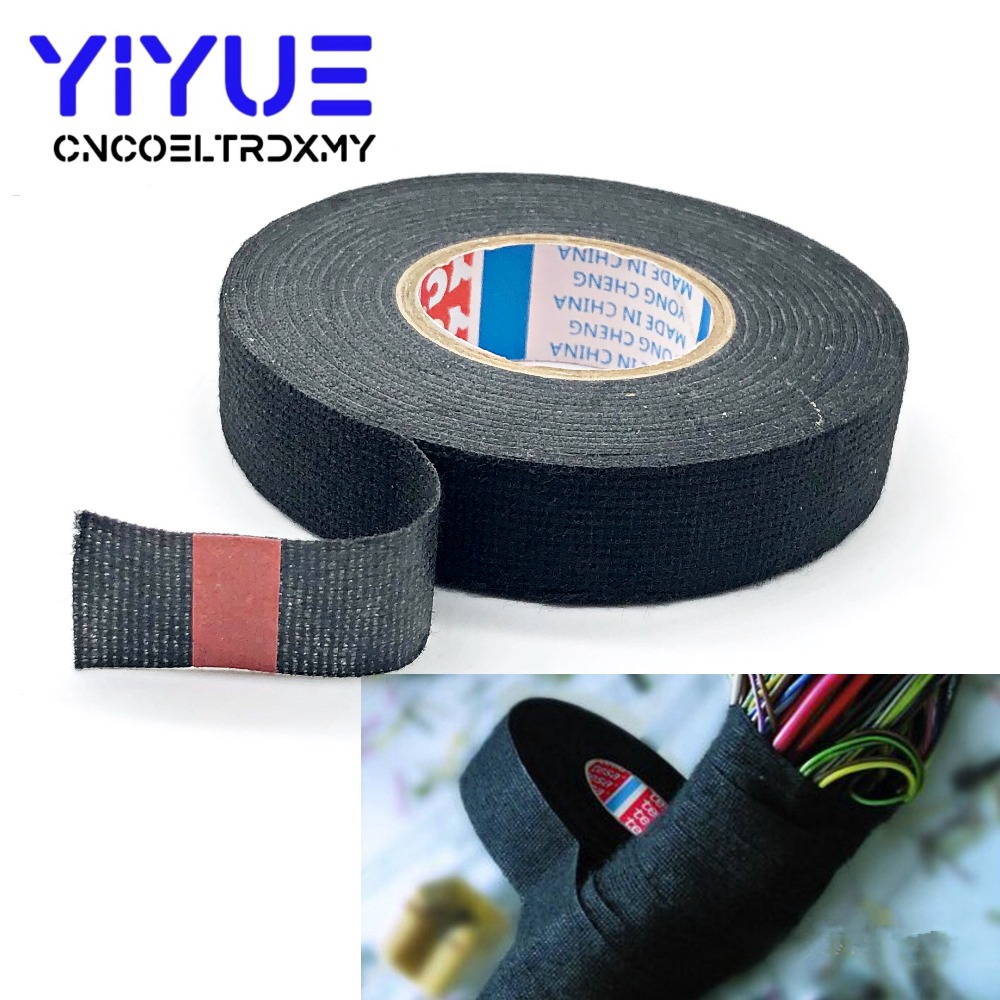 16mmx15m Universal Flannel Fabric Cloth Tape Automotive Wiring High Heat Resistant Insulation Insulating 15m New 19mmx15m Harness Looms Adhesive Cable