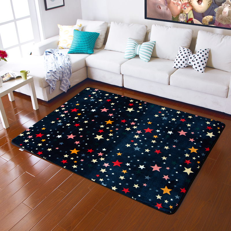 Cartoon Star Pattern Child Living Room Flannel Carpet Soft