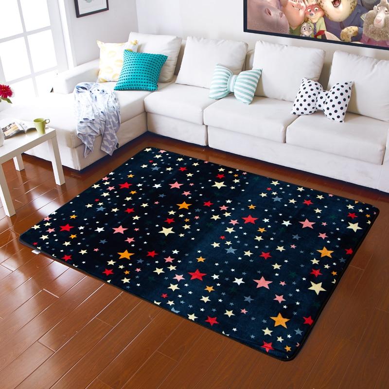 Cartoon Star Pattern Child Living Room Flannel Carpet Soft