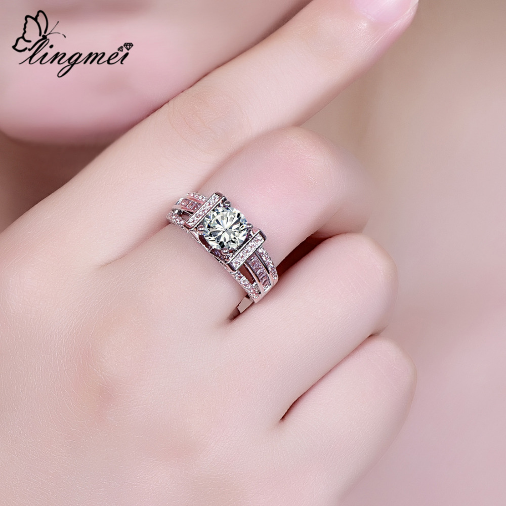 lingmei Brilliant Jewelry New Round Cut Multicolor White Zircon Silver 925 Ring Size 6 7 8 9 Wedding Engagement Ring For Women in Engagement Rings from Jewelry Accessories