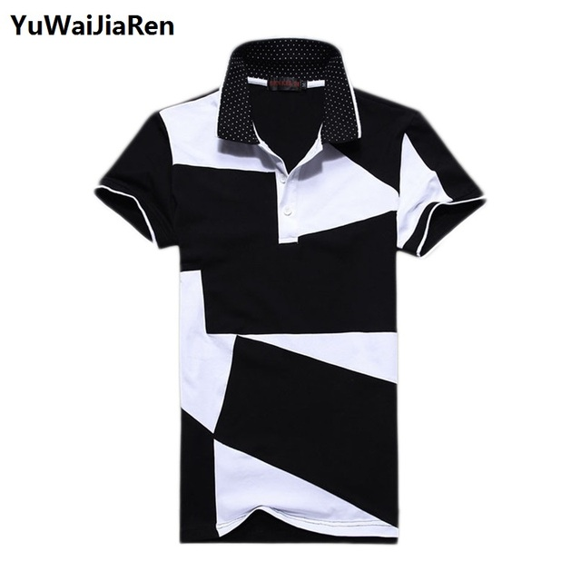 Casual POLO Shirt Male Summer Fashion Men's Black and White Stitching Cotton Short Polo-sleeved Polo Shirt Men Oversize M-6XL