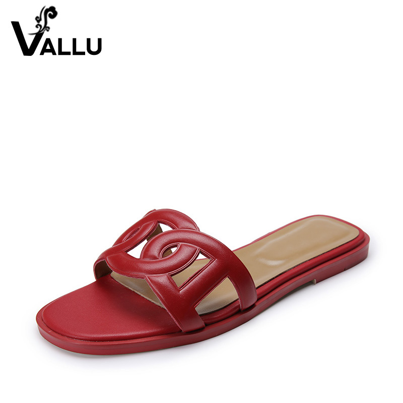 Women Slippers Summer 2018 Casual Genuine Leather Shoes Woman Solid Cut Out Retro Women Flats Plus