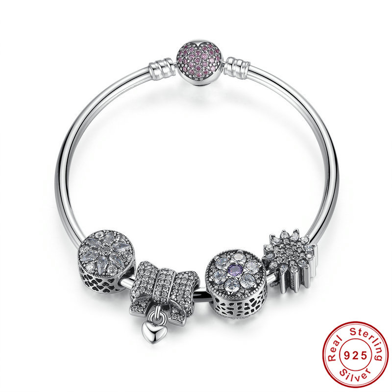 Luxury Europe S925 sterling silver charm bracelet bangle high-end silver jewelry for women DIY charm beads bracelet Pulseira graceful multilayered pentagram charm bracelet for women