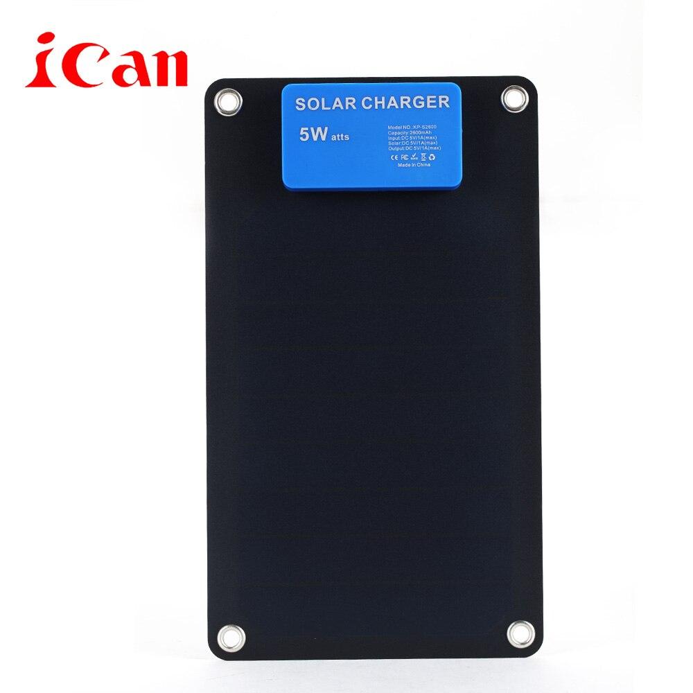 Ican Солнечный Портативный мобильного телефона Зарядное устройство с одним Порты usb, черный 5 Вт (1A)