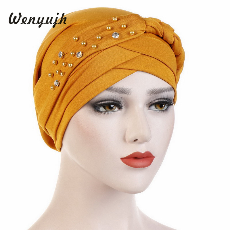 Cap African Style   Headwear   Cap African Style Muslim Turban Hair Accessories Fashion Women Solid Braided Bandanas   Headwear   #New