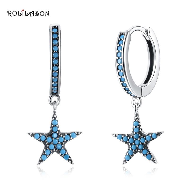 Star shape 925 sterling silver blue stars zircon earrings fashion decoration party gift SE31 in Earrings from Jewelry Accessories