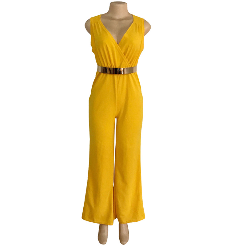 caf0f2ab643c Rompers Womens Jumpsuit 2018 Fashion Long Pants Rompers Overalls Belt Sexy  V Neck Sleeveless Wide Leg Jumpsuit Combinaison Femme-in Jumpsuits from  Women s ...
