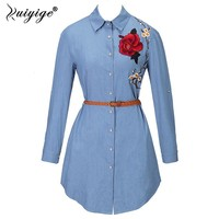 RUIYIGE 2017 Spring Plus Size Tees Tops Ladies New Long Sleeve Jeans Blouse Blusa Embroidered Flowers