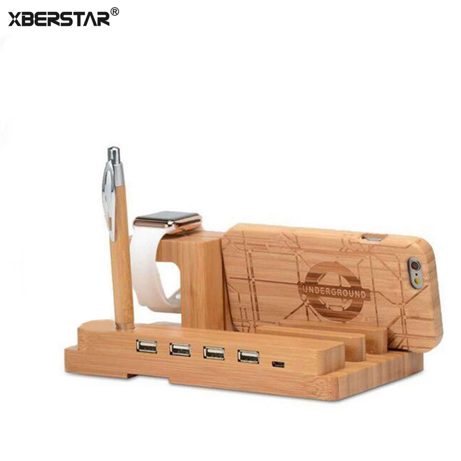 Charging Dock Station wood Bamboo Stand Holder for Apple Watch iPhone 6s iPad 4in1 USB Port Natural Wooden Desk for iphone 7Plus ...