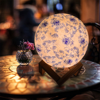 USB 3D LED night light moon lamp colorful blue and white porcelain table lamp flap 3 Colors Change Switch baby kids holiday gift