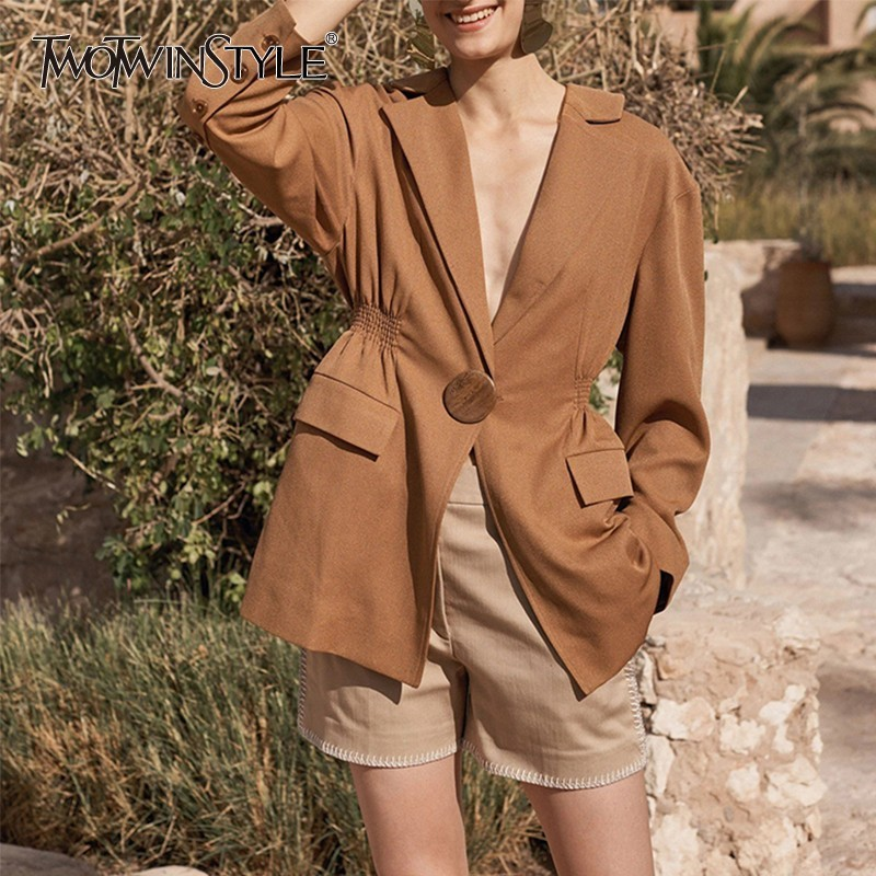 TWOTWINSTYLE Solid OL Blazer Coats For Women Notched Collar Long Sleeve Ruched Tunic Coat Female Fashion New Tide 2020 Summer