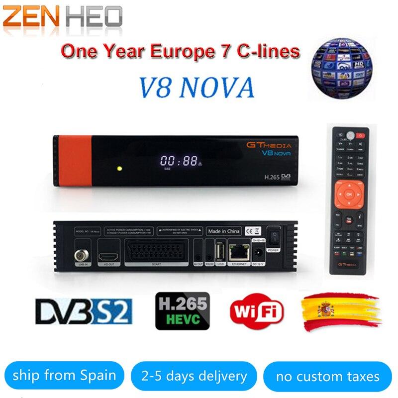 V8 Nova Satellite tv receiver DVB-S2 H.265 built-in WIFI Receptor 1 Year Europe cline TV Box Same V9 Super Upgrade From V8 Super kii pro android 5 1 1 tv box built in 2 4g