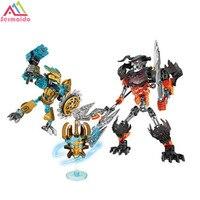 107 개 벨라 Bionicle 영웅 Tahu 마스크 메이커 두개골 분쇄기 모델 빌딩 블록 소년 아이 벽돌 호환 Decool B181