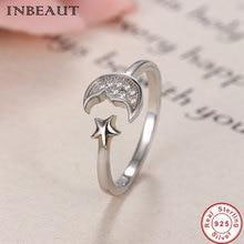 INBEAUT Korean Fashion 925 Sterling Silver Princess Star CZ Moon Ring Women Romantic Fairy Stars Wedding Rings Adjustable Gift