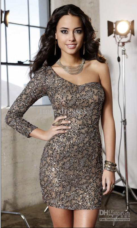 New Years eve Sexy Shiny 2014 Beads Lace One Shoulder Three Quarter Sleeve Mini Prom Party Cocktail Celebrity Elegant Hot