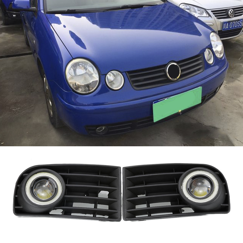 2x White Lens Front Bumper Fog Light Lamps Grill with Wires For 2006-2009 Volkswagen GOLF 5 Convex Mirror White Angel Eyes 2x led fog lights angel eyes lamp front bumper grille grill cover foglight kit for vw golf mk4 98 04