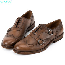 QYFCIOUFU Brand Genuine Leather Business Men Dress Shoes High Quality Retro Double Monk Strap Oxford For Brogue