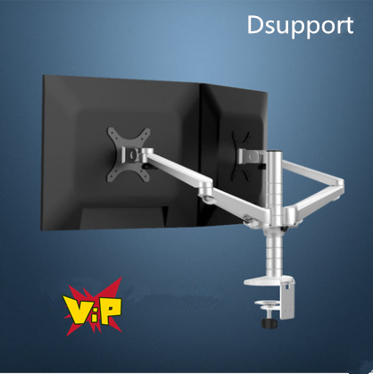 все цены на Free Shipping OA-4S Aluminum Desktop Double Arm Dual Monitor Holder Bracket Full Motion LED Screen Mount Arm Rotary Base Stand онлайн