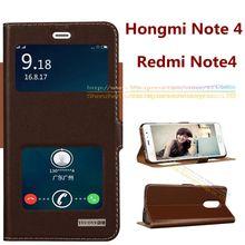 6 цветов для Redmi Note 4, Одежда высшего качества натуральный натуральная кожа окна магнит подставка чехол для Xiaomi Redmi Note 4 Note4
