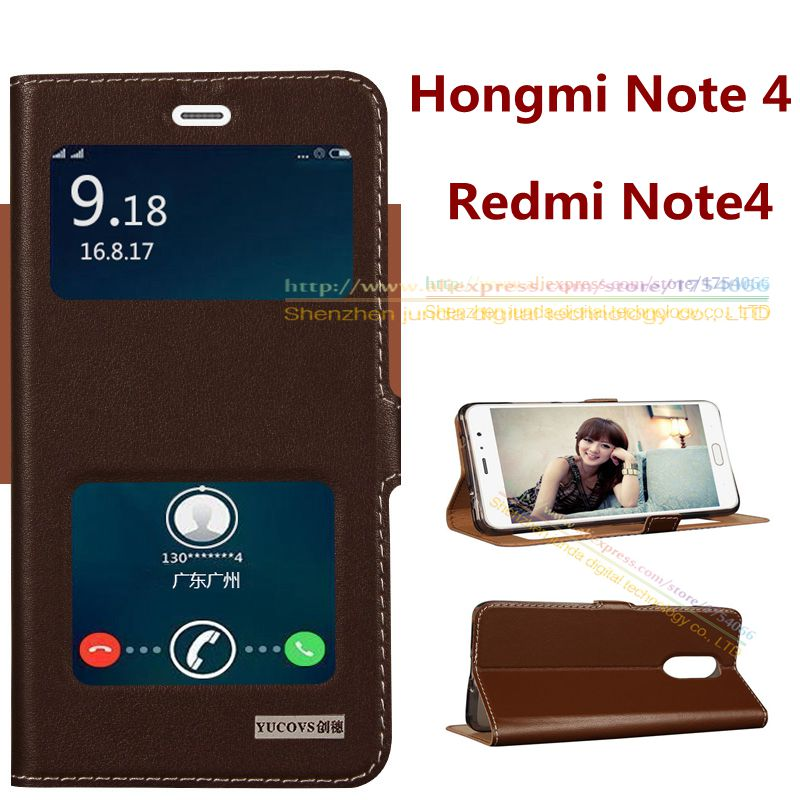 6 Colors For Redmi Note 4 Top Quality Natural Genuine Leather Window Smart Flip Stand Cover