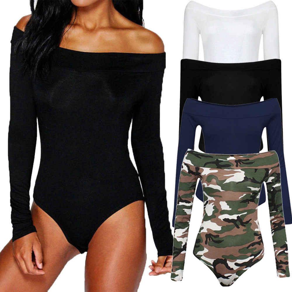 503532d3d492 New Womens Camouflage Jumpsuit Sexy Ladies Off Shoulder Long Sleeve Bardot Bodysuit  Woman Leotard Jumpsuit Plain
