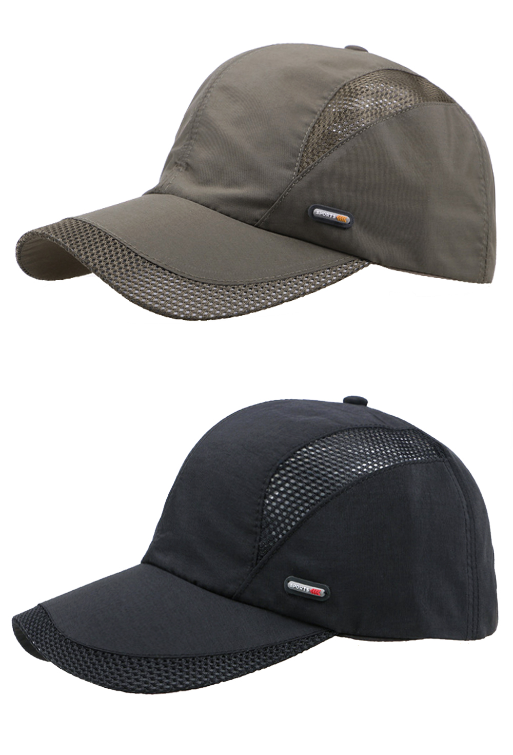 Cool Comfort Breathable Quick Dry Cap - Army Green Cap and Black Cap Front Angle Side Views