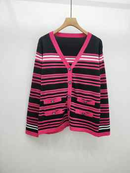 2019 AUTUMN WINTER WALLA ERA WOMEN SWEATERS CASUAL STRIPE LADIES SWEATERS COLORED BLACK AND PINK FEMME SWEATER 2 COLORS - SALE ITEM - Category 🛒 Women\'s Clothing