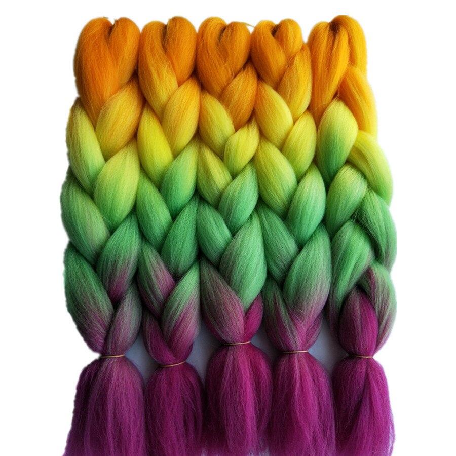 """1 упаковка 24 """"100 г/шт. Jumbo косами крючком волос Pervado волос Синтетический Яки Плетение объемных волос зеленый фиолетовый ombre Стиль"""