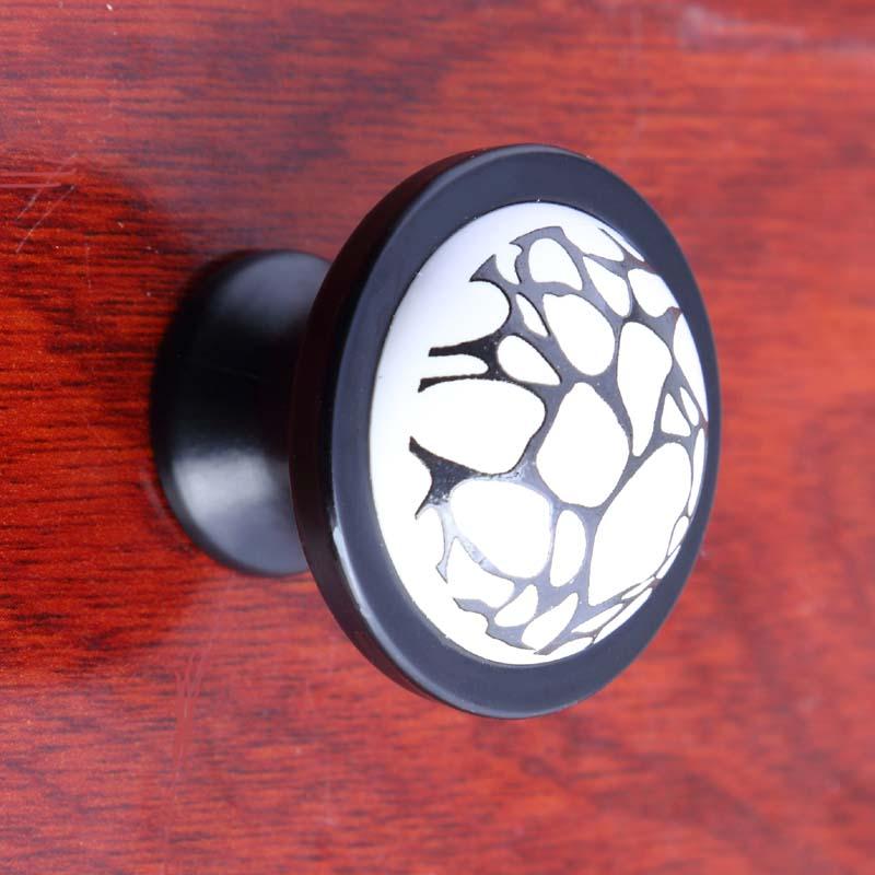 modern simple white black drawer shoe cabinet knobs pulls black white crack ceramic tv cabinet dresser cupboard door handle knob