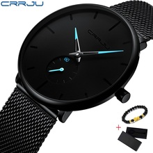 CRRJU Quartz Watch Men Casual Slim Mesh Steel Mens Watches Top Brand Luxury Sport Watch Waterproof Clock Relogio Masculino 2019 dom women watches dom brand luxury new casual waterproof leather dress quartz watch mesh strap clock relogio faminino g 36gk 1ms