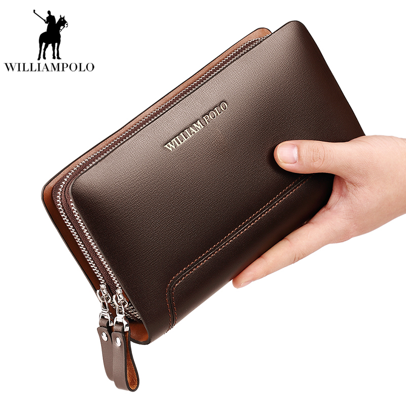 New brand mens clutch bag European and American fashion leather large capacity mens bag wallet