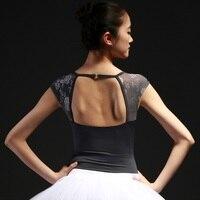 V collar buckle Lace short sleeve halter neck leotard ballet uniform