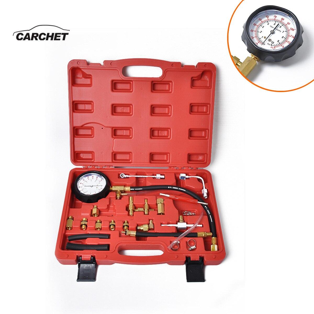 CAECHET Car Professional Fuel System Testing Gauge Set Fuel Pressure Tester Diagnostic Tools Valve Core + Removal Tool Universal