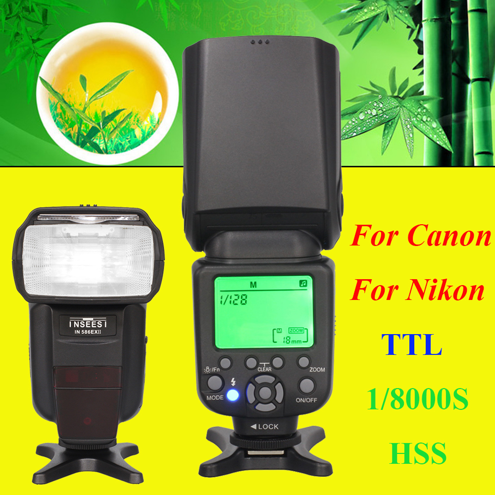 INSEESI IN 586EX II TTL HSS 1/8000s Camera Speedlite Flash For Canon Nikon DSLR Camera VS Triopo TR-586EX YONGNUO YN568EX triopo wireless ttl flash speedlite speedlight tr 586ex c for canon eos 5d mark ii 6d 1200d dslr camera as yongnuo yn 568ex ii