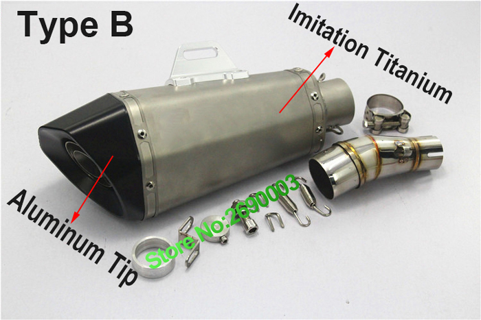Inlet 51 Carbon Fiber Tip Motorcycle Exhaust Pipe For Ninjia Exhaust Muffler Escape exhaust pipe with Accessories