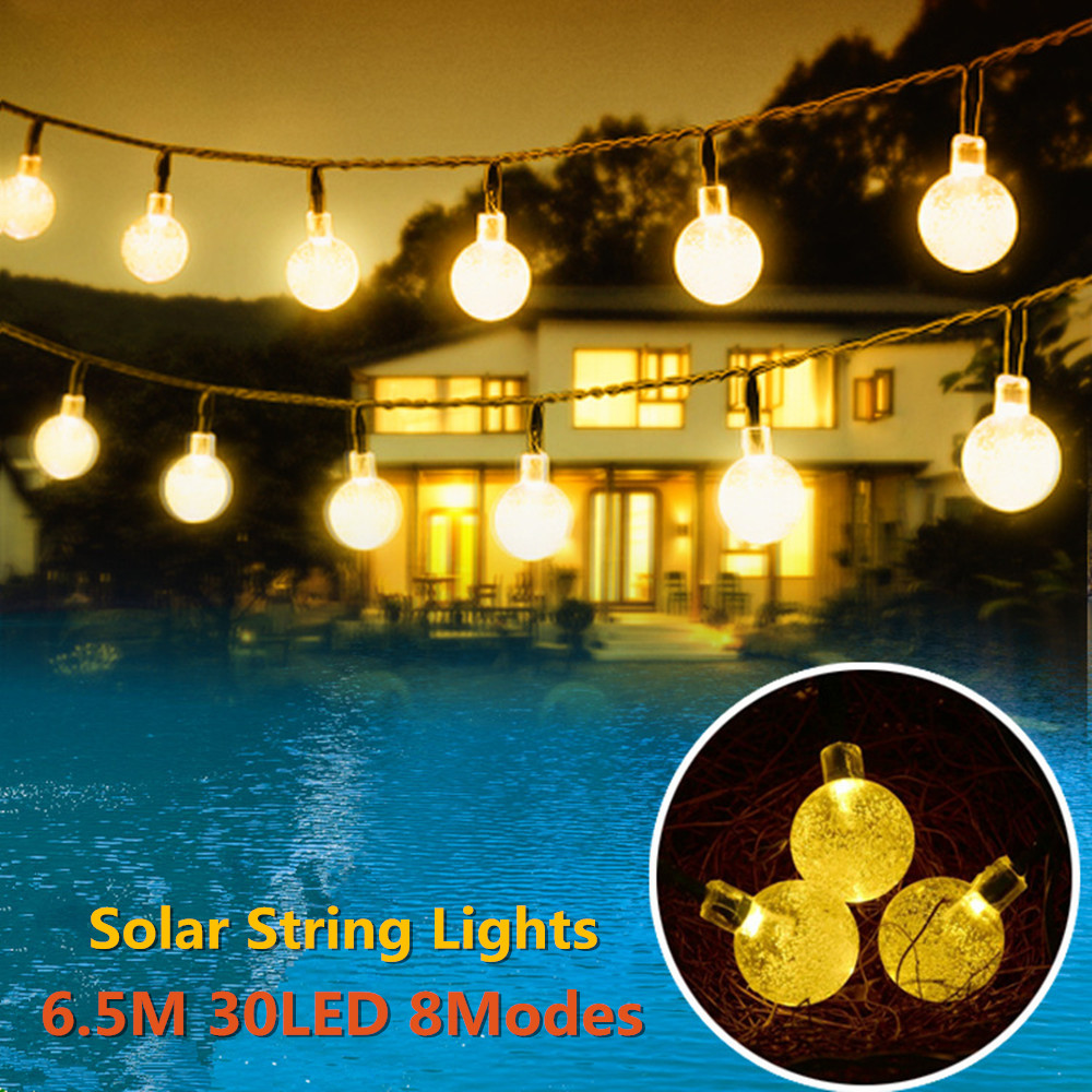 Solar Powered Led Outdoor String Lights 6M 30LEDs Crystal Ball Globe Fairy Strip Lights for Outside Garden Patio Party Christmas