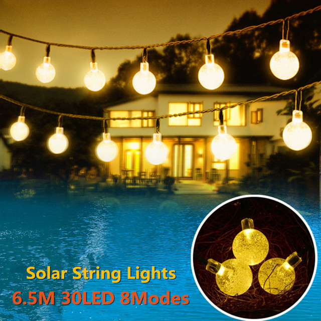 Superbe Solar Powered Led Outdoor String Lights 6M 30LEDs Crystal Ball Globe Fairy  Strip Lights For Outside Garden Patio Party Christmas