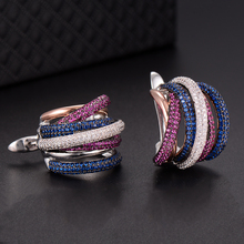 SisCathy Luxury Colorful Twist Lines Cubic Zirconia Earrings Charms Elegant Women Statement Hoop Fashion Jewelry Making