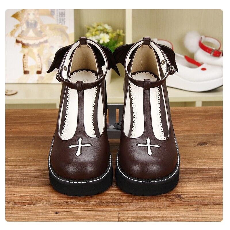 Impresión marrón correa Size35 vino Negro De Personalizado Lolita 98461 T Tinto Japonés black Talón Cosplay Goth 39 Angelical Pl Plataforma Zapatos Cómodo Tobillo FwdUWgqF6