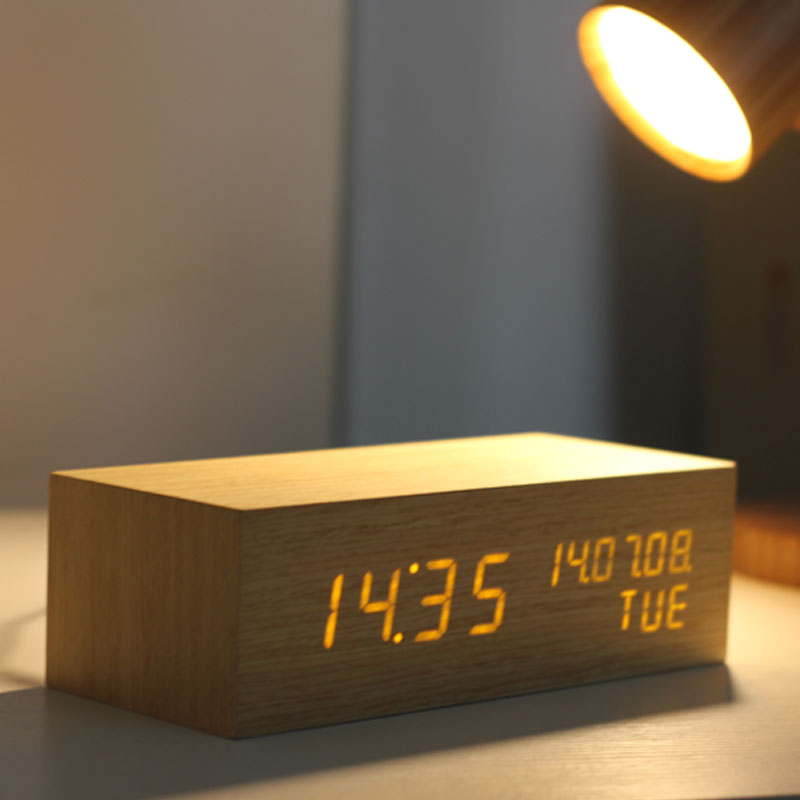 Authentic retro classic rectangular wooden table clock digital alarm clock creative green backlight LED electronic alarm clock