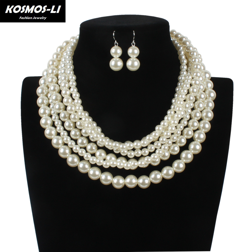 Pearl Necklace Fashion Simulated Plastic Pearl Bead Multi Layer Necklace  Classic Women Necklaces Party Jewelry 7530