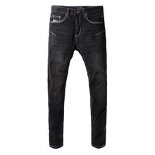 Fashion Classical Men Jeans Elastic Denim Pencil Pants Simple Black Skinny Big Size Streeetwear Hip Hop homme