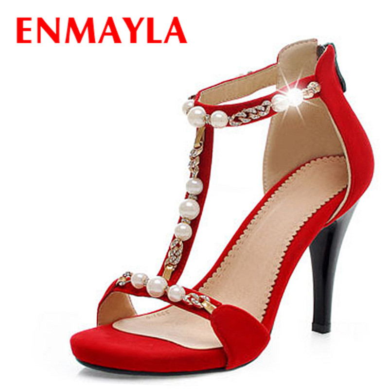 ФОТО ENMAYLA New Sexy Fashion Faux Pearl Rhinestone Sandals for Women Platform Open Toe Summer Wedding Shoes High Heels Sandals
