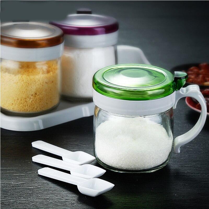 1 pièces cuisine fournitures verre assaisonnement peut huile pot ensemble assaisonnement bouteille assaisonnement boîte base livraison louche